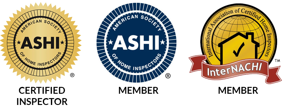 American Society of Home Inspectors (ASHI) Certified Inspector logo, ASHI Member logo, and International Association of Certified Home Inspectors (InterNACHI) member logo