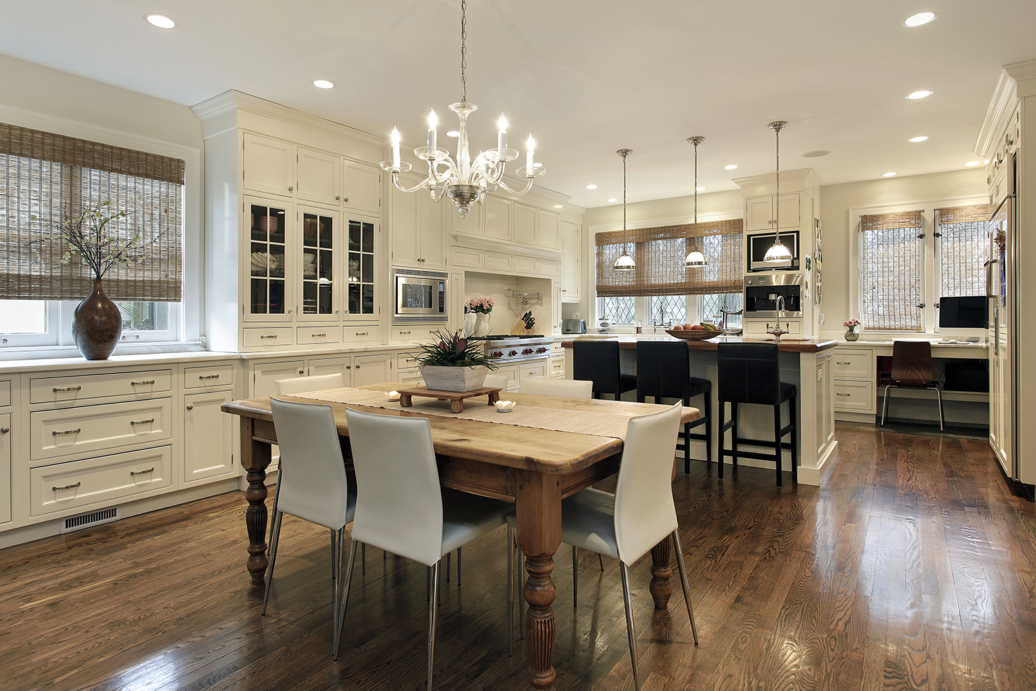 Interior of a newly renovated kitchen checked home preforming thorough home inspection services
