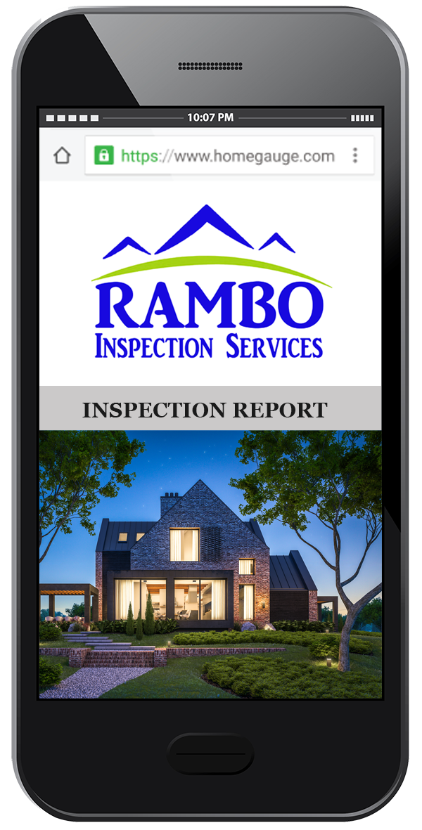 Smartphone showing an example of a Rambo online, digital home inspection report